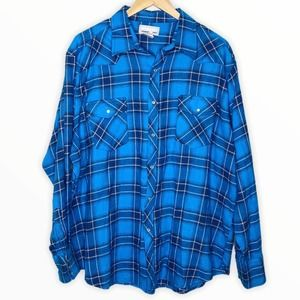 Wrangler Wrancher Shirt Pearl Snap Button Up Plaid